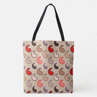 Modern Paisley pattern, Beige, Red, Gray and Coral Tote Bag