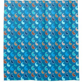 Modern Paisley pattern, Cerulean Blue, Tan & Aqua