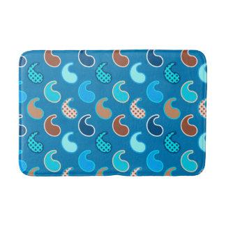 Modern Paisley pattern, Cerulean Blue, Tan & Aqua Bath Mat