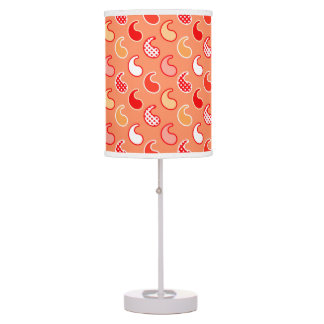 Modern Paisley pattern, Coral Orange and White Table Lamps