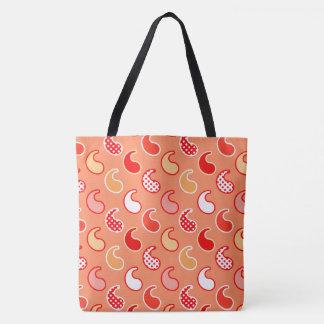 Modern Paisley pattern, Coral Orange and White Tote Bag