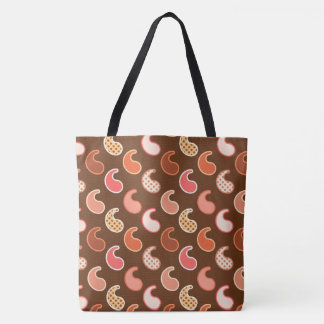Modern Paisley pattern, Earth Tones, Cocoa Brown Tote Bag