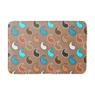 Modern Paisley pattern, Taupe, Turquoise and Rust Bath Mat