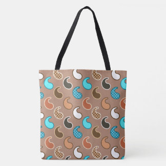 Modern Paisley pattern, Taupe, Turquoise and Rust Tote Bag