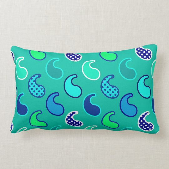 Modern Paisley pattern, Turquoise, Blue and Aqua Lumbar Pillow