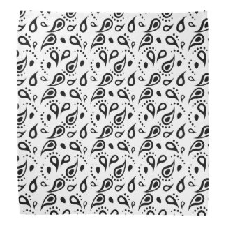 Modern Paisley Print Pattern Classic Black White Bandana