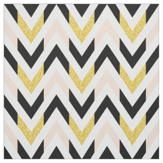 Modern Pale Pink, Black, White, Gold Chevron Fabric