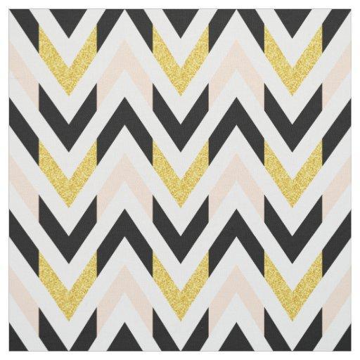 Modern Pale Pink, Black, White, Gold Chevron Fabric