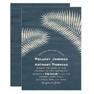 Modern Palm Tree Tropical Beach Themed Wedding Card