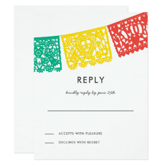 Modern Papel Picado Reply Card | Wedding RSVP