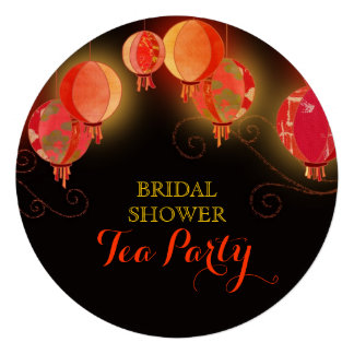 Modern Paper Lanterns Bridal Shower Tea Party Card