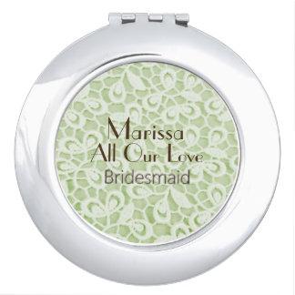 Modern-Parisian-Wedding-Green-Lace-Favor Mirror For Makeup
