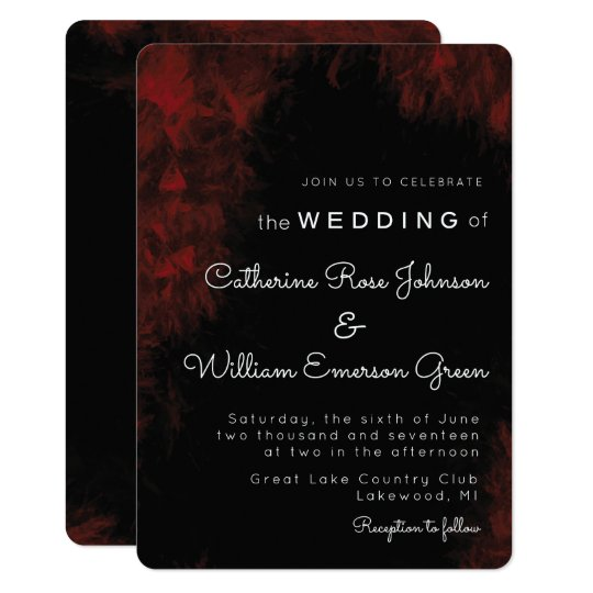 Modern Passionate Red 'n Black Wedding Invitation
