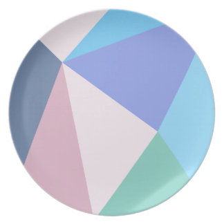 Modern pastel color triangle Melamine Plate