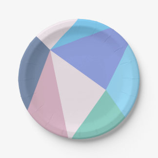Modern pastel color triangle Paper Plate 7 Inch Paper Plate