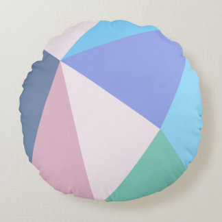 Modern pastel color triangle Round Throw Pillow