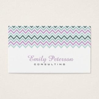 Modern Pastel Colorful Chevron Pattern Business Card