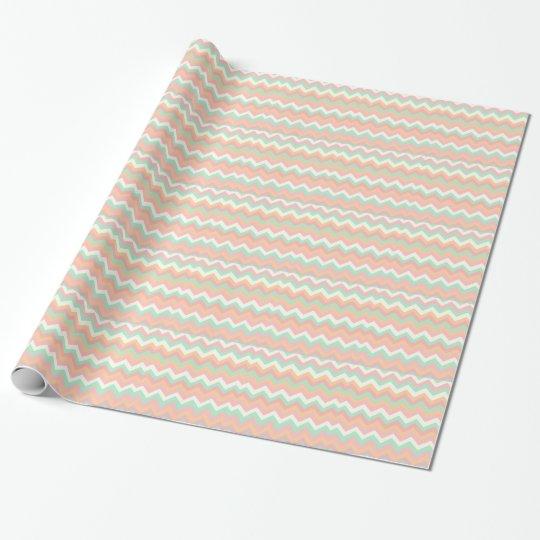 Modern Pastel Mint Green Coral Pink Stripe Chevron Wrapping Paper