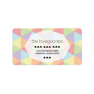 Modern Pastel Rainbow Geometric Wedding Address Label