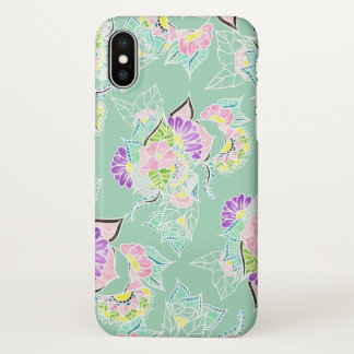 Modern pastel watercolor floral mint green pattern iPhone x case