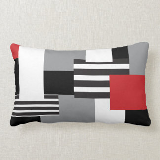 Modern Patchwork Red Black Gray White Throw Pillow