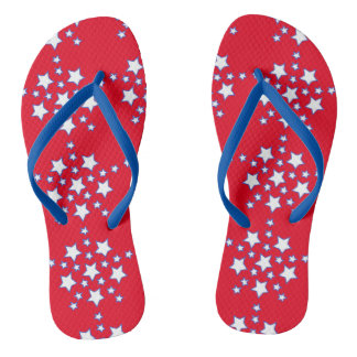 Modern Patriotic Red White Blue Stars Flip Flops