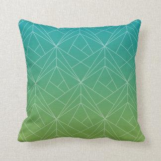 Modern Pattern Green and Blue Throw Pillow
