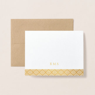 Modern Pattern Monogram Note Card