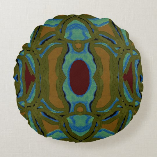 Modern Pattern Pillow- Gold,Green,Maroon,Blue Round Pillow
