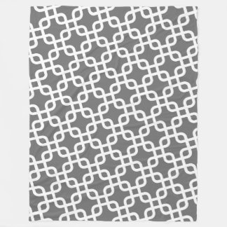 Modern Pattern with Gray and White Fleece Blanket