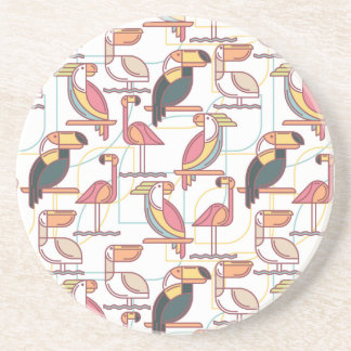 Modern Pattern With Tropical Birds Beverage Coasters