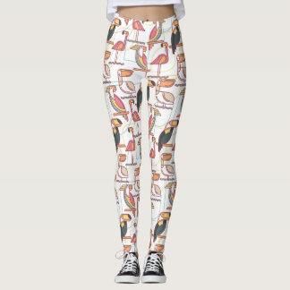 Modern Pattern With Tropical Birds Leggings
