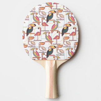 Modern Pattern With Tropical Birds Ping-Pong Paddle