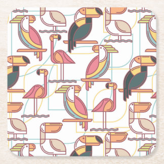 Modern Pattern With Tropical Birds Square Paper Coaster