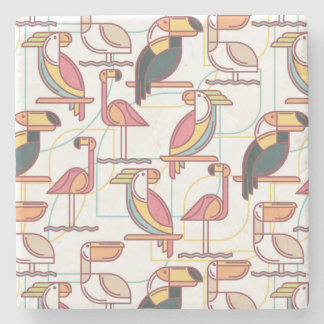 Modern Pattern With Tropical Birds Stone Coaster