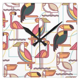 Modern Pattern With Tropical Birds Wallclock