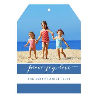 Modern Peace, Joy, Love Holiday Photo Card | Blue