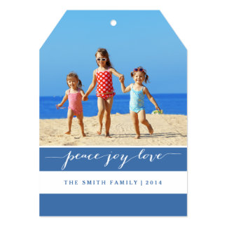 "Modern Peace, Joy, Love Holiday Photo Card   Blue 5"" X 7"" Invitation Card"