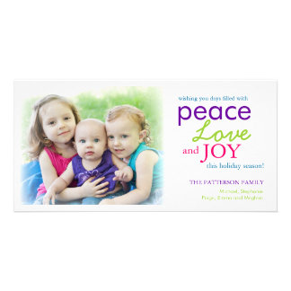 Modern Peace Love Joy Photo Holiday Greeting Picture Card