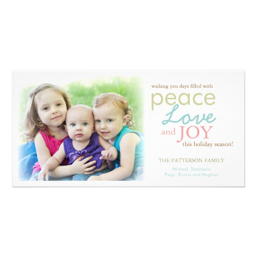 Modern Peace Love Joy Photo Holiday Greeting Personalized Photo Card
