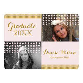 Modern Peach and Gold Graduation Photo Invitation