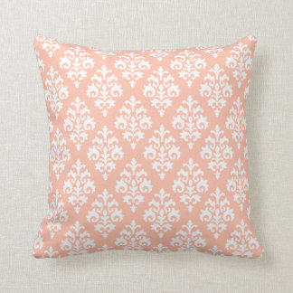 Modern Peach and White Damask Throw Pillow