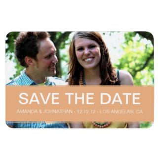 Modern Peach Banner Photo Save The Date Magnet