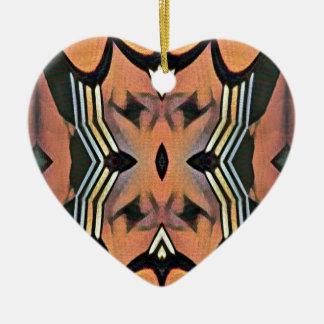 Modern Peach Black Artistic Abstract Background Ceramic Heart Ornament