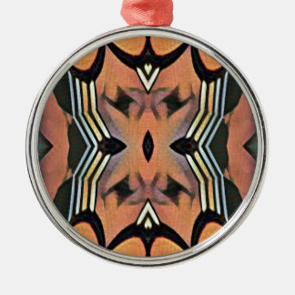 Modern Peach Black Artistic Abstract Background Silver-Colored Round Ornament