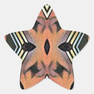 Modern Peach Black Artistic Abstract Background Star Sticker