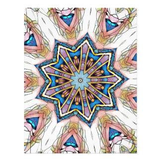Modern Peach Blue Mandala Pattern Letterhead