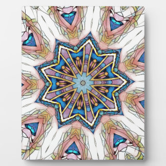 Modern Peach Blue Mandala Pattern Plaque