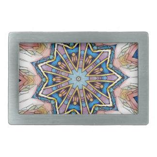 Modern Peach Blue Mandala Pattern Rectangular Belt Buckle
