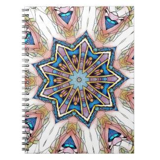 Modern Peach Blue Mandala Pattern Spiral Notebooks